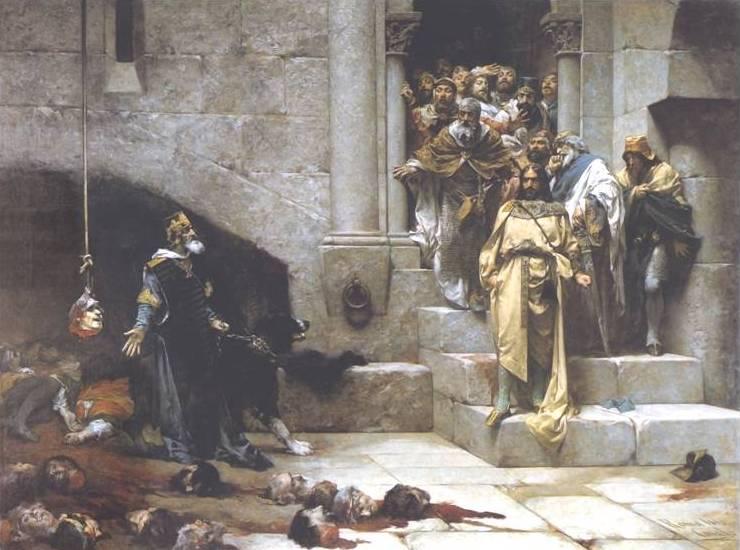 Lectura del cuadro «La Campana de Huesca». Un homenaje a Gustavo Adolfo Bécquer del Pintor Villadino José Casado del Alisal.