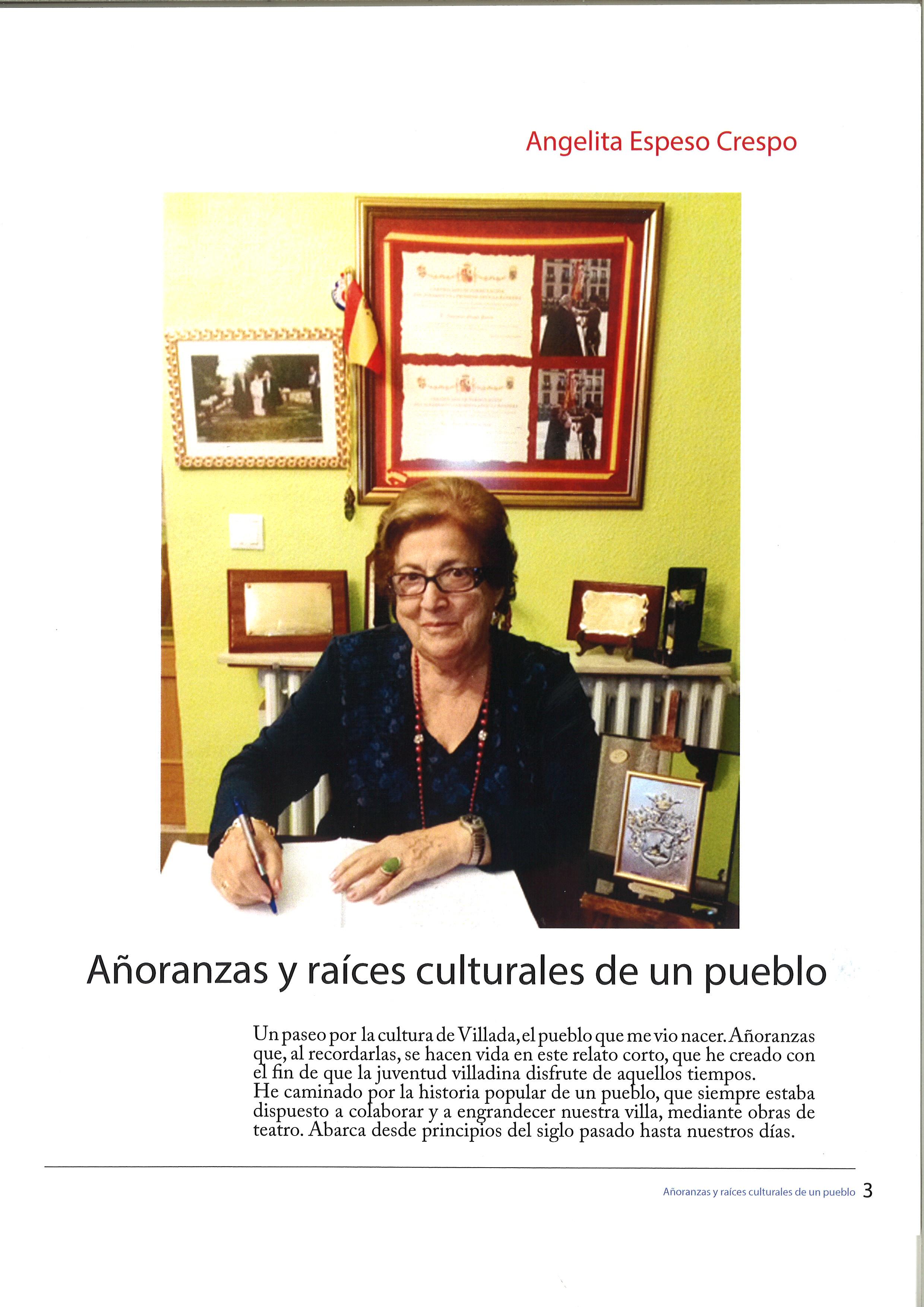 Añoranzas y Raíces Culturales de un Pueblo. Angelita Espeso
